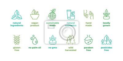 Tapeta Eco line badge. Handmade eco logos, natural organic cosmetics vegan food symbols, Vector linear gluten free, no gmo emblems