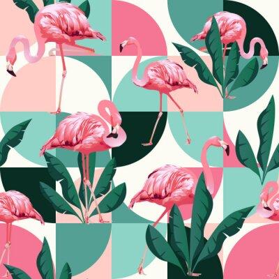 Tapeta Egzotyczne plaży modny wzór, patchwork ilustrowany kwiatowy wektor tropikalnych liści bananowca. Różowe flamingi dżungli.