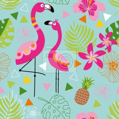 Tapeta Egzotyczny Flamingo Raj