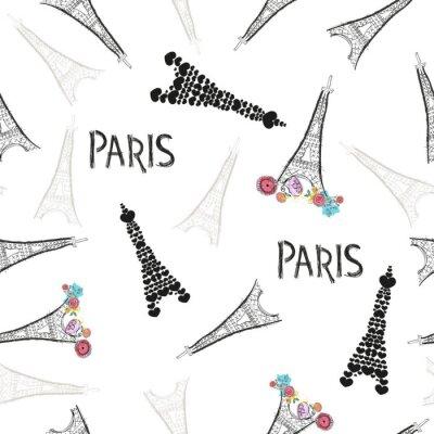 Tapeta Eiffel tower hand drawn colorful flowers, Paris text pattern