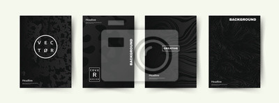 Tapeta Elegancki zestaw pokrowców w kolorze czarnym. Abstrakcyjne kształty z gradientami. Modny design. Eps10 wektor.