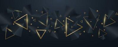 Tapeta Elegant, geometric background of 3d, black and golden triangles. Wallpaper design for template, cover or banner. Decorative, polygonal shapes. Vector illustration