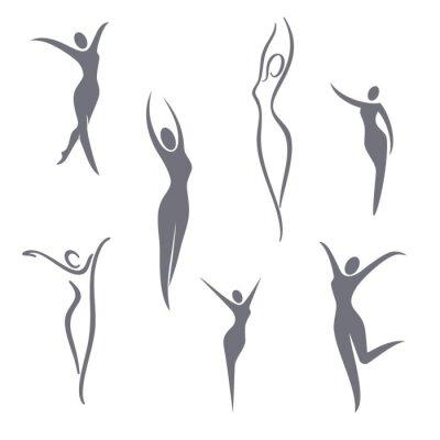 Tapeta Elementy projektu logo wektorowe. Młoda dziewczyna zestaw