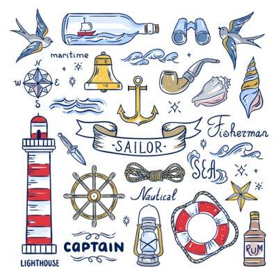 Tapeta Elementy wyciągnięte ręką marynarki. Ilustracje morskie: latarnia morska, fale morskie, obiekty kapitana, muszle