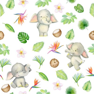 Tapeta elephant is cute. seamless pattern. isolated. watercolor.