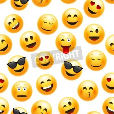 Tapeta Emoji seamless pattern. Vector smiley face character illustration on white.