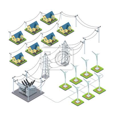 Tapeta Energia Wiatrowa śmigła Green Village Infografiki Cyklu
