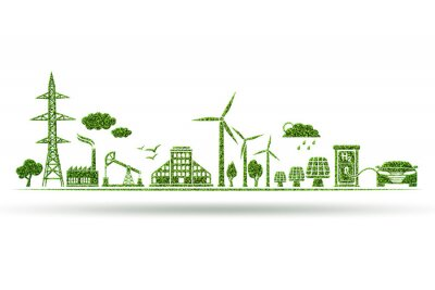 Tapeta Environment and ecology in green concept - 3d illustration