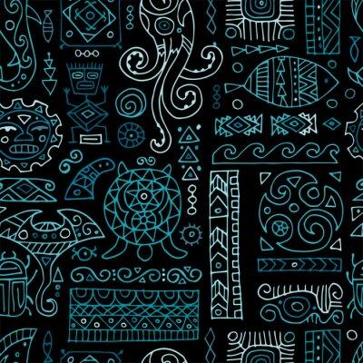 Tapeta Ethnic handmade ornament for your design. Polynesian style, seamless pattern