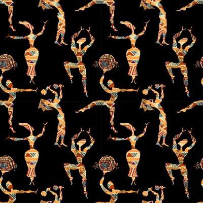Tapeta Etniczne szwu tekstury z postaciami ludzi tańczących. Wektor i