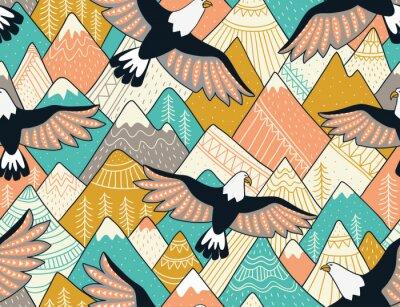 Tapeta Etnicznych wzorek bez szwu z góry i Orły. Jasne ozdobnych wektora tła dla tkaniny, zawijania papieru i tapetę.
