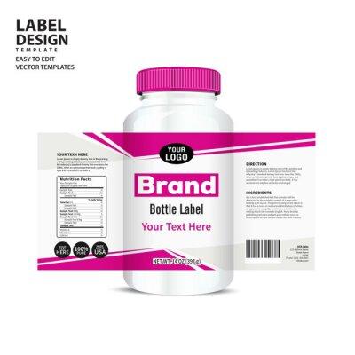 Tapeta Etykieta butelki, projekt szablonu pakietu, projekt etykiety, makieta projektu szablon etykiety