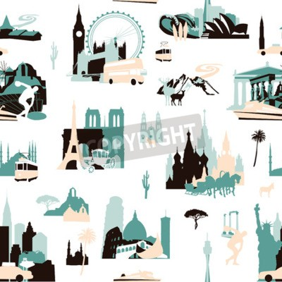 Tapeta Euro-trip. Seamless pattern with miniatures of sights of European cities.
