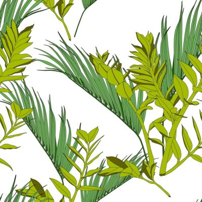 Tapeta Exotic tropical and palm leaves, white background. Floral seamless pattern.