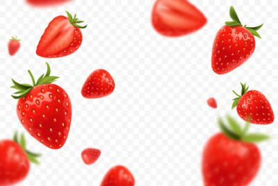 Tapeta Falling juicy ripe strawberry with green leaves isolated on transparent background. Flying defocusing strawberry berries. Applicable for juice advertising. Vector illustration.