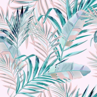 Tapeta Fashion vector floral pattern with tropical palm leaves