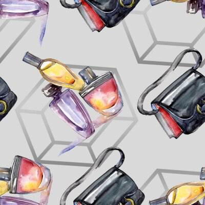 Tapeta Fashionable sketch in a watercolor style isolated element. Watercolour illustration set. Seamless background pattern.