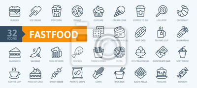 Tapeta Fastfood - outline web icon set, vector, thin line icons collection