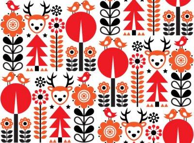 Tapeta Fiński inspirowany bez szwu wektor wzór sztuki ludowej - skandynawski, nordycki styl z kwiatami i zwierzętami