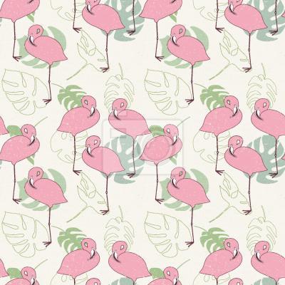 Tapeta Flamingi I Tropikalne Liści