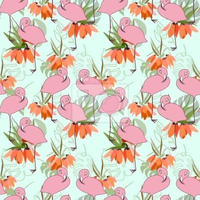 Tapeta Flamingi I Tropikalne Rośliny