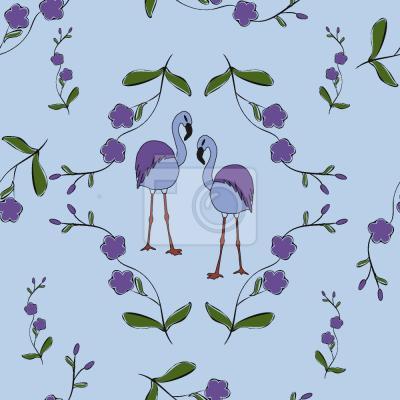 Tapeta Flamingi Pod Kwiatami