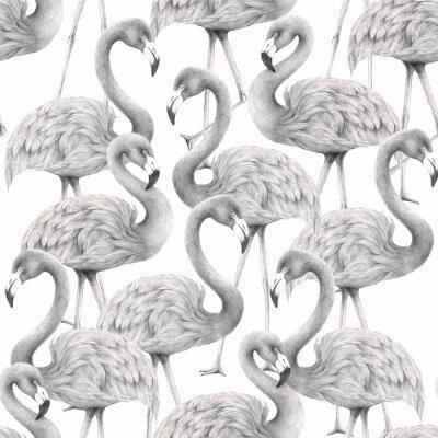 Tapeta  flamingo seamless pattern,colored pencil drawing techniques,illustration