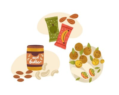 Tapeta Flat vector cartoon illustration of vegetarian snacks and desserts. Vegan nutritious food composition isolated on white. Lunch with nuts, peanut butter, fruit energy bars and falafel wrap