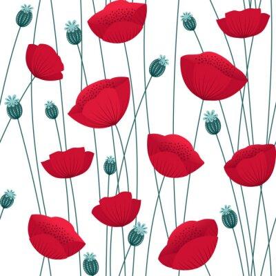 Tapeta Floral bez szwu deseń z maku kwiaty na białym tle. Tło wektor czas nieokreślony.