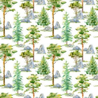 Tapeta Floral bez szwu deseniu z sosny, świerk, kamień i liściaste tree.Watercolor wyciągnąć rękę illustration.White tło.