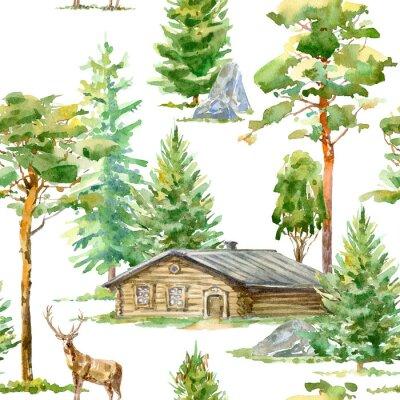 Tapeta Floral bezszwowych deseń z drewnianym domu, jelenie, sosna, świerk, kamień i liściaste tree.Rural landscape.Watercolor wyciągnąć rękę illustration.White tło.