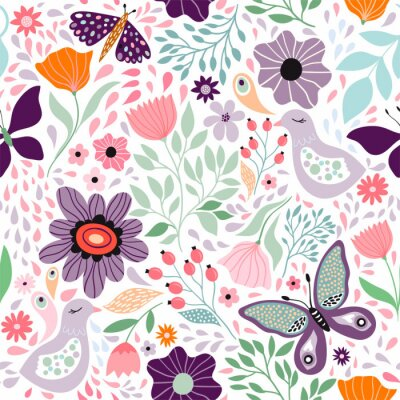 Tapeta Floral decorative seamless pattern with butterflies and different flowers