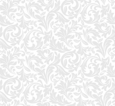 Tapeta Floral pattern. Wallpaper baroque, damask. Seamless vector background. White and grey ornament.