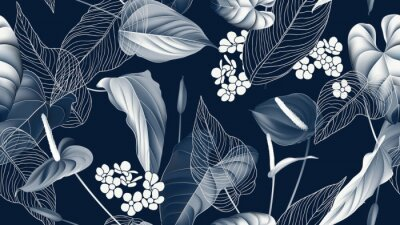 Tapeta Floral seamless pattern, Anthurium flowers with leaves in blue tone on dark blue