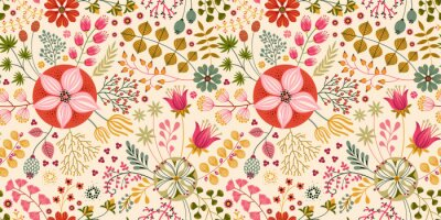 Tapeta Floral seamless pattern on WHITE. Abstract vector background with flowers and leaves. Natural bright design.