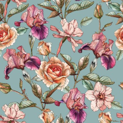 Tapeta Floral seamless pattern with watercolor irises, roses and narcissus. Background with spring flowers