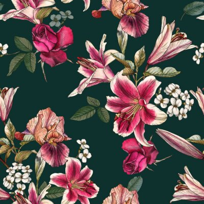 Tapeta Floral seamless pattern with watercolor lilies, irises, rose and white apple blossom