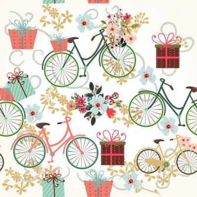 Tapeta Floral tapeta wzór z rowerów i kwiatów