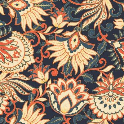 Tapeta floral vector illustration in damask style. ethnic background