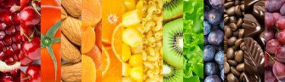 Tapeta Food background. Collection of delicious food. Fruit and vegetables