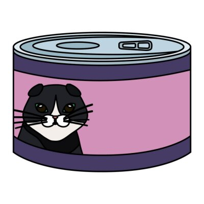 Tapeta food cat in can isolated icon vector illustration design