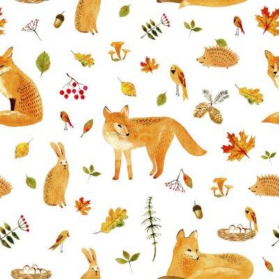 Tapeta Fox, królik, jeż, ptaków i floral.Seamless pattern.Watercolor ręcznie rysowane illustration.White tło.