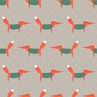Tapeta Fox szwu na polka dot tle. Ilustracja Cartoon Foxy wektorowych. Dzieci rysunek styl tła zwierząt. projektowanie mody do tkanin, tkaniny, wystrój, tapety.