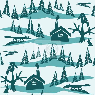 Tapeta Fox w lesie zimą