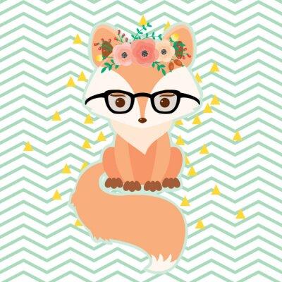 Tapeta Fox w okularach w wieniec kwiatów