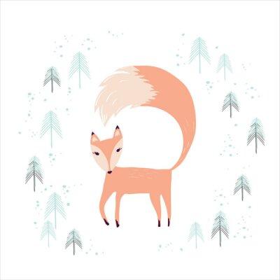 Tapeta Fox w zimowym lesie sosnowym na białym.