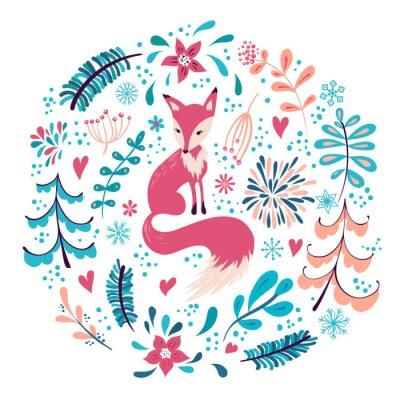 Tapeta Fox z zimowych kwiatów i płatki śniegu