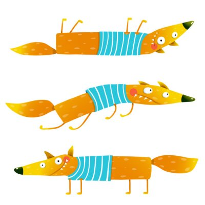 Tapeta Fox zwierząt znaków w zestawie ubrań kreskówki