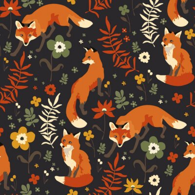 Tapeta foxes walk in grass and flowers
