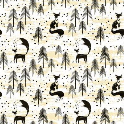 Tapeta Foxy w zimowym lesie sosnowym